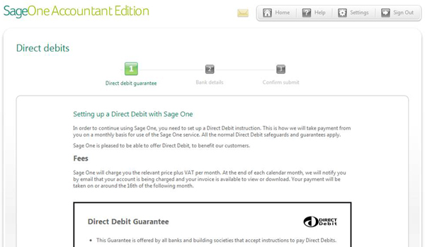 Sage One Accountant Edition - Direct Debit Wizard