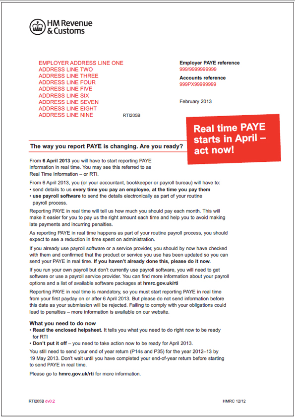 Hmrc asks employers are you ready to report paye in real time hmrc real time information letter sent on 6th february 2013 spiritdancerdesigns Images