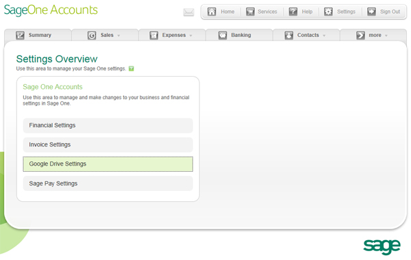 Sage One Accounts Settings Overview