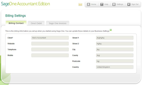 Sage One Accountant Edition - Billing Settings - Billing Contact