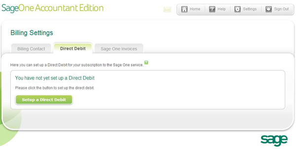 Sage One Accountant Edition - Billing Settings - Direct Debits