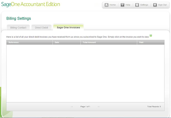 Sage One Accountant Edition - Billing Settings - Invoices