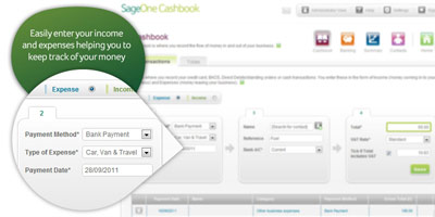 Sage One Cashbook: Easily enter your income and expenses, helping you to keep track of your money