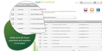 Sage One Cashbook: Safely store all of your customers and suppliers in one place