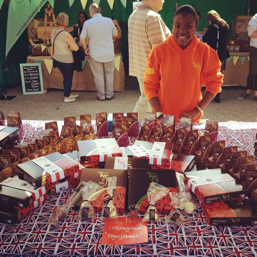 Chikumo selling Tiger J Chocolates at Devonshire Green Market, Sheffield