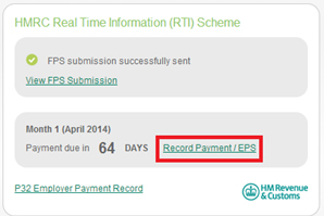 HMRC Real Time Information Scheme - Record Payment/EPS