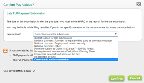 Choosing a Late Full Pay Submission reason in Sage One Payroll