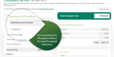 Sage One Payroll: You can easily print off payslips without the need for payroll stationery