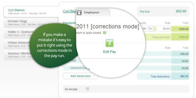 Sage One Payroll: If you make a mistake, it's easy to put it right using the Corrections Mode in the pay run