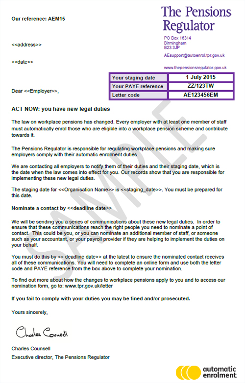 'ACT NOW: You have new legal duties' letter from The Pensions Regulator