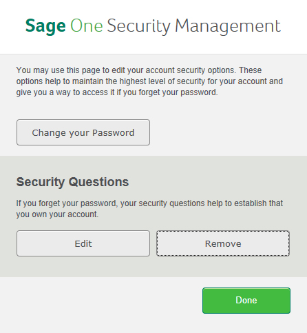 Sage One Security Management