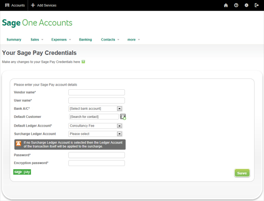 Sage Pay Settings in Sage One