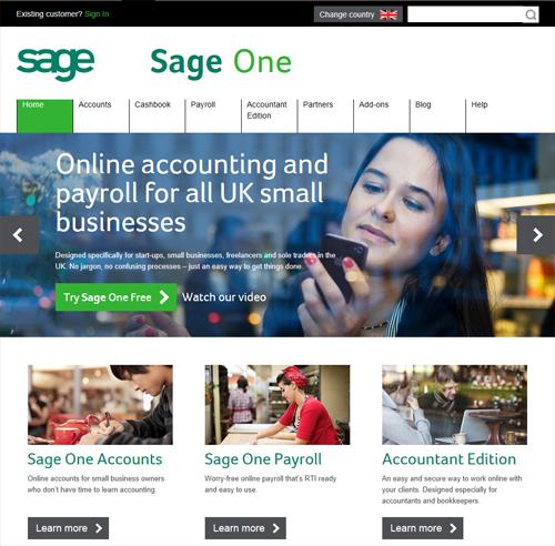 Sceenshot of the new-look Sage One website