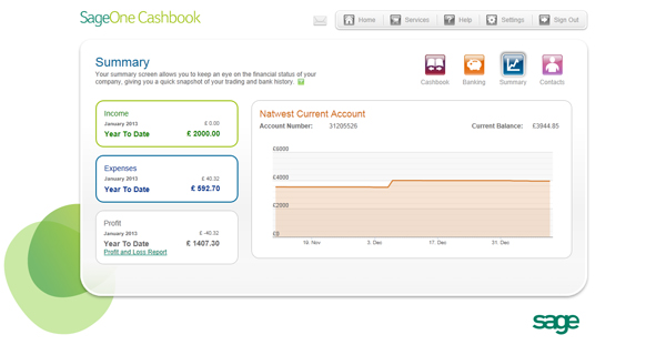 The simple and elegant interface of Sage One Cashbook
