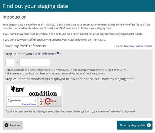 Screenshot of The Pensions Regulator Staging Date Tool