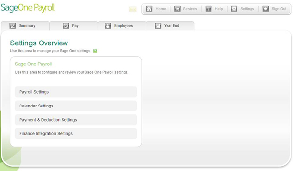 Sage One Payroll Settings Area
