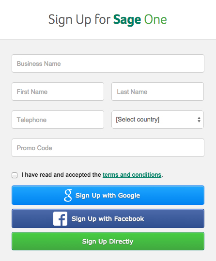 Sign Up for Sage One using your Facebook account