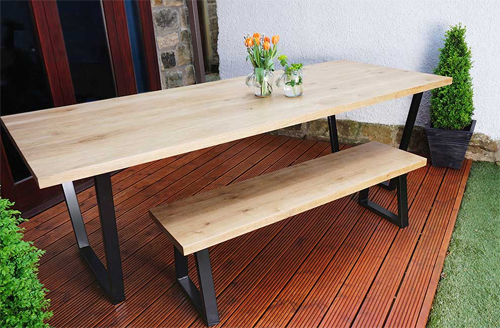 Solid Oak & Steel Loop Leg Dining Table by Urban Metalworks