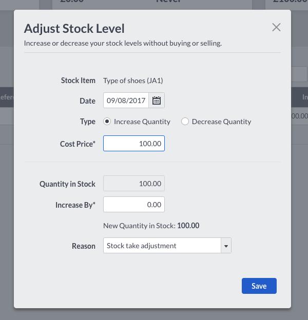 Adjust Stock Quantity