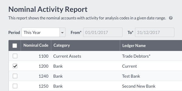 Nominal Activity Select Export