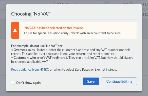 No VAT warning