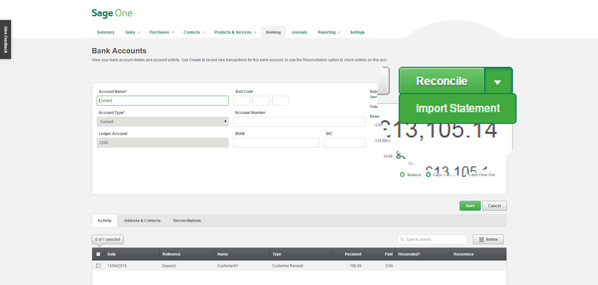 A screenshot showing how easy it is to use the bank statement import feature in Sage One Accounting for a faster and easier bank reconciliation.