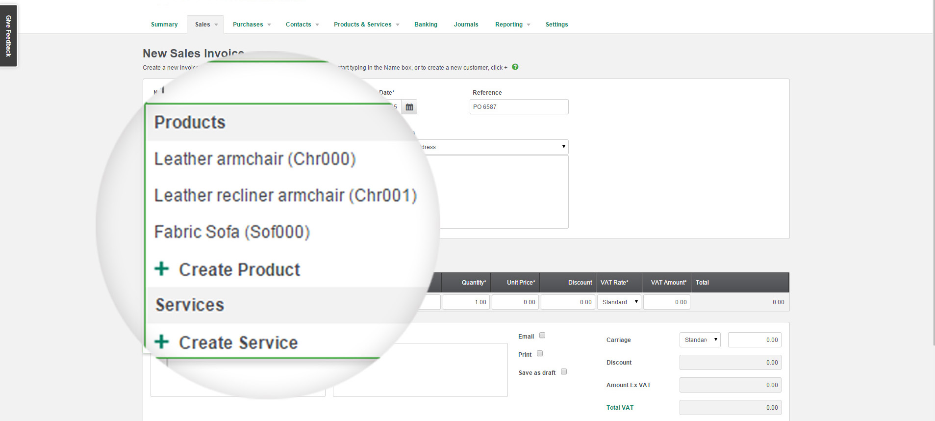 Set up a list of your products or services for easy selection when creating invoices. Save time by selecting a product from the drop-down menu in the invoice screen.