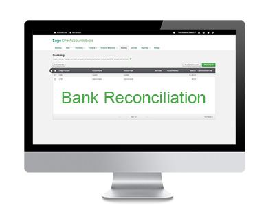 An image of a mac showing bank reconciliation in Sage One