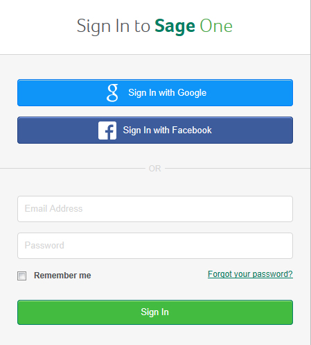 Sign Up or Sign In to Sage One using your Facebook account